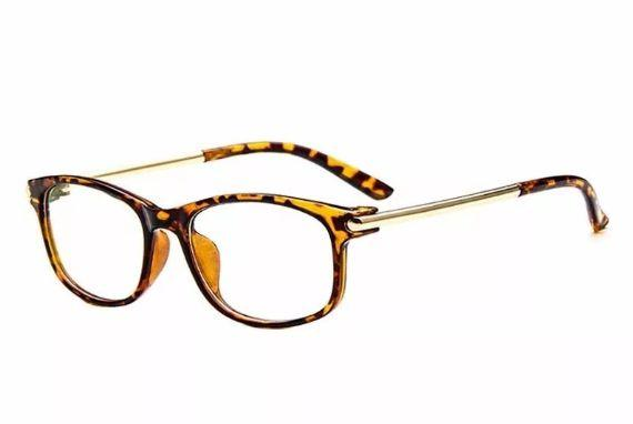 Imagem de Armação Vintage para Óculos de Grau - Cor Leopardo Claro e Leopardo Escuro