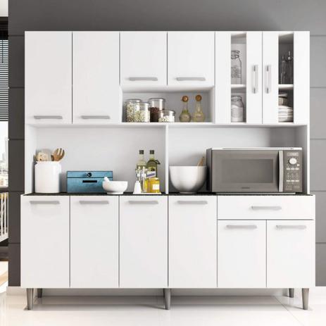 Imagem de Armário de Cozinha 12 Portas 1 Gaveta Clara Poliman Móveis Branco