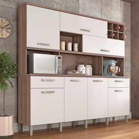 Menor preço em Armário de Cozinha 7 Portas 2 Gavetas Master Nesher Móveis Branco/Madeirado