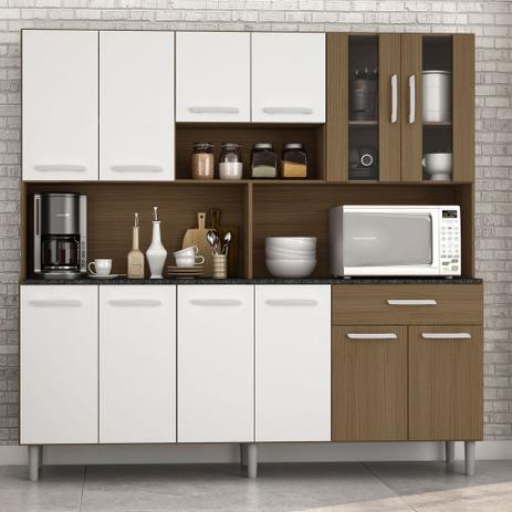 Imagem de Armário de Cozinha Completa Compacta com 12 Portas Clara Carvalho / Branco