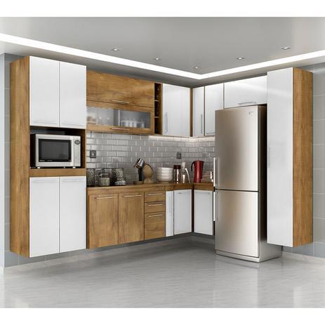 Armário de Cozinha Modulada Jaspe 12 peças - Branco/Castanho - Ws