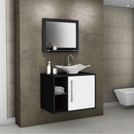 Imagem de Armário para Banheiro com 1 Porta 4 Prateleiras Baden Preto / Branco - Bechara