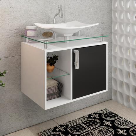 Armário Para Banheiro Com Pia Lagos Sobrepor Brancopreto Mgm Móveis