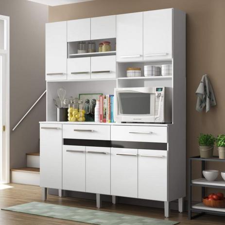Imagem de Armário para Cozinha 10 Portas 2 Gavetas Compacta Decibal Branco/Preto