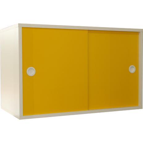 Imagem de Armário Portas de Correr Young 74 Branco c/ Porta Amarela