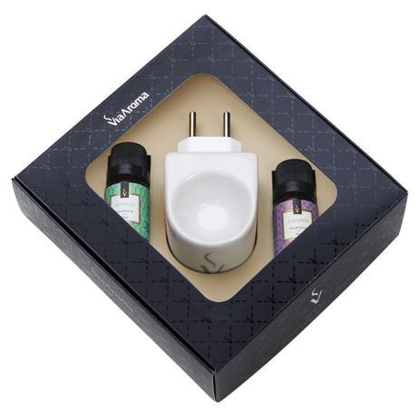Imagem de Aromatizador elétrico porcelana Via Aroma com essência Bamboo/Lavanda 10ml
