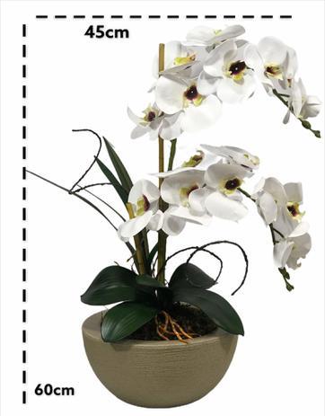 Imagem de Arranjo Artificial 2 Orquídeas Branca Cuba para Centro de Mesa 70827