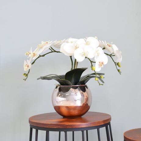 Imagem de Arranjo de Orquídeas Artificiais de Silicone Brancas no Vaso Rose Gold  Linha Casa 255
