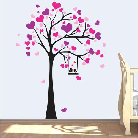 Imagem de Árvore Adesivo Parede Corações Amor Menina Coração Meigo