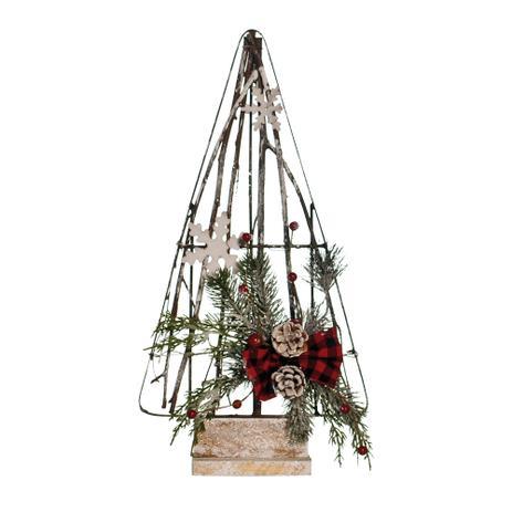 Arvore Natal Galhos Secos Vazada Flocos De Neve E Laco 45cm