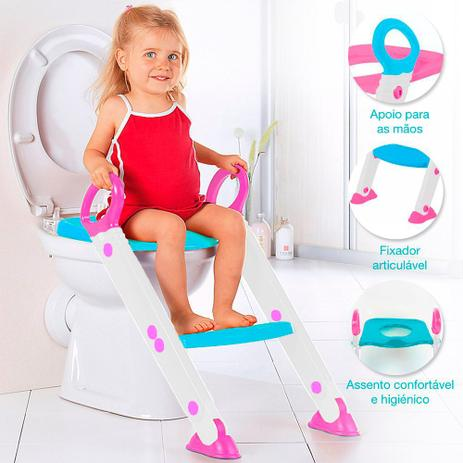 Imagem de Assento Redutor Infantil Vaso Sanitário Escada Desfralde Rosa Buba