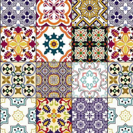 Imagem de Azulejo Adesivo Lavável Coloridos Português Para Cozinha