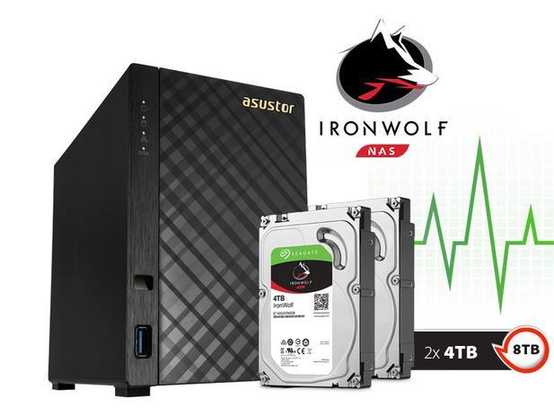 Imagem de Backup Nas Com Disco Ironwolf Asustor As1002t8000 V2 Marvell Dual Core 1,6 Ghz 512mb Ddr3 Torre 8tb