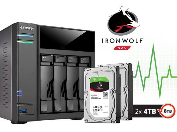 Imagem de Backup Nas Com Disco Ironwolf Asustor As6104t8000 Intel Dual Core 1,6ghz 2gb Ddr3 Torre 08 Teras