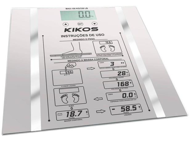 Balança Digital 150kg com Medidor de Gordura - Medição de Água corporal Kikos B-ISON - S