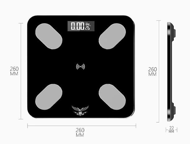 Imagem de Balança Digital Preta Para Banheiro De Bioimpedância Bluetooth Com App