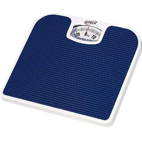 Imagem de Balança Mecânica de Banheiro Azul Pesa Ate 130kg Antiderrapante G-tech