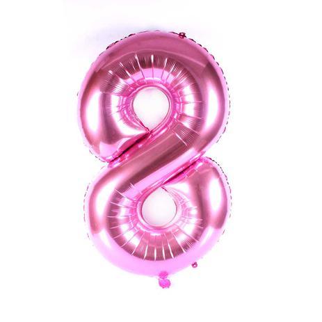 aa690d30a Balão Metalizado Números Gigante Super Shape Rosa 90cm - Aluá festas ...