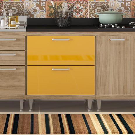 Imagem de Balcão 2 Gavetões com Tampo BP para Cooktop Sicília - Argila Acetinado Texturizada e Laca Amarelo