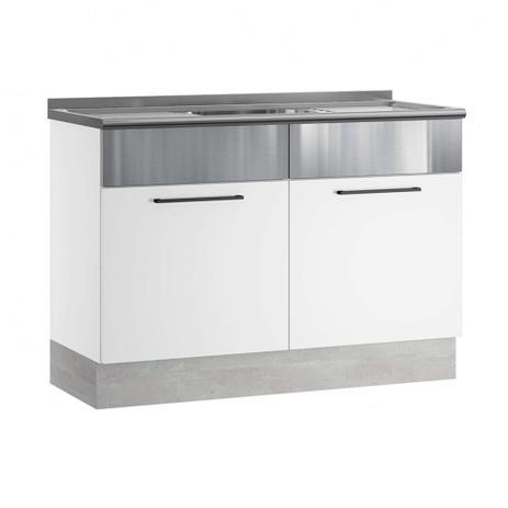 Imagem de Balcão Em Aço Com Pia Para Cozinha Exclusive Branco e Inox Itatiaia