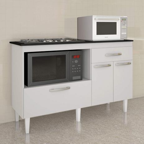 Imagem de Balcão para Cooktop 3 Portas 1 Gaveta Palace Kaiki Móveis Branco