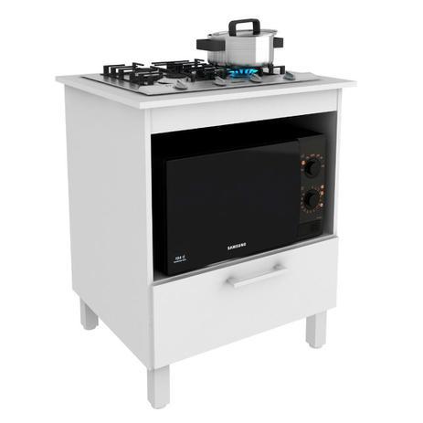 Imagem de Balcão para Cooktop 4 bocas e Forno/Micro 70cm MDP Branco - MegaSul