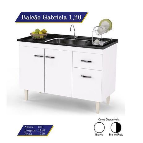Imagem de Balcão Para Pia Gabriela 120cm 3 Portas e 1 Gaveta Flex - AJL