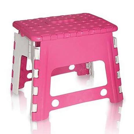 Imagem de Banco Banqueta Dobrável Infantil Plastico Rosa