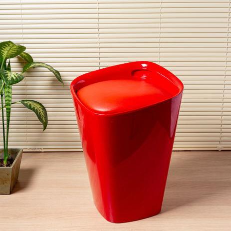 Imagem de Banco de plástico estofado 50cm vermelho Coisas e Coisinhas