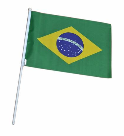 Imagem de Bandeira Brasil com Haste Para Mão