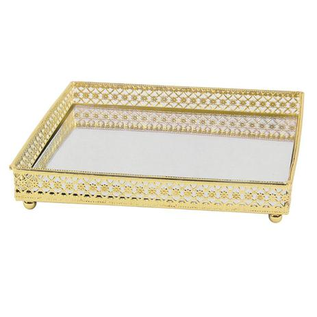 Imagem de Bandeja espelhada dourada 16,5cm x 16,5cm x 3,1cm