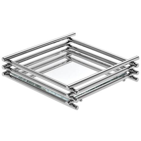 Imagem de Bandeja Espelhada Wire Cromada 15x25cm Retangular