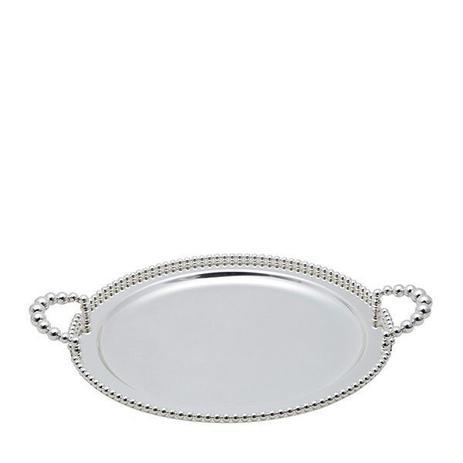 Imagem de Bandeja redonda 32 cm de zamac banhado em prata com alça Balls Lyor - L3759