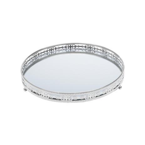 Imagem de Bandeja Redonda Com Espelho Prestige Bunch Ferro Prata