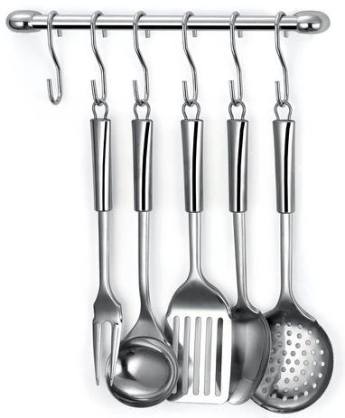 Imagem de Barra para pendurar utensílios de cozinha na parede incluso 6 ganchos