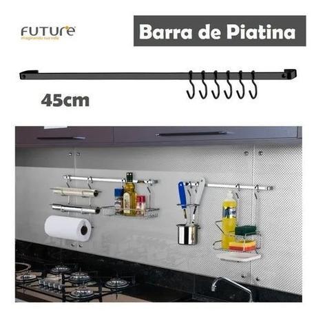 Imagem de Barra Piatina 45cm Com 6 Ganchos Utensílios Cozinha Onix Preto - 2411ox Future