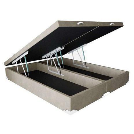 Imagem de Base Box Baú Queen Bipartido SP Móveis Suede Bege - 45x158x198