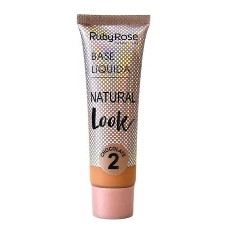 Imagem de Base Líquida Ruby Rose Natural Look Cor Chocolate 02 - 29ml Hb-8051 - Chocolate 02