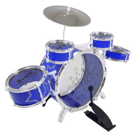 Imagem de Bateria Infantil Musical Banco Tambor Baquetas Pedal Criança Azul