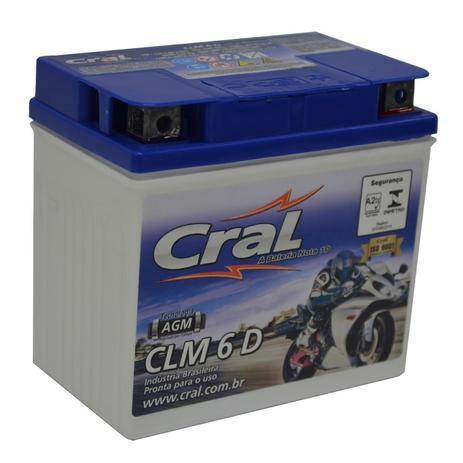 Imagem de Bateria Moto CLM6D Cral 6ah Dafra Kansas Smart Super 100 ZIG Fym FY 100 10 A 150 18