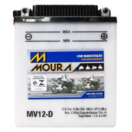 Imagem de Bateria Moto Mv12-d Moura 12ah Triumph Speed Triple Tiger Yamaha Virago BMW GS
