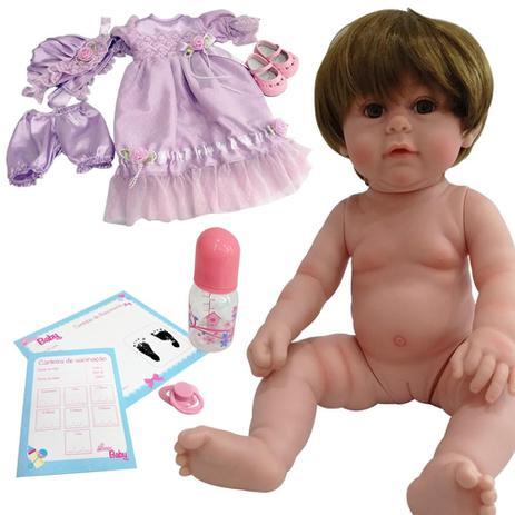 16ad3503666429 Bebe Reborn Boneca Menina Realista Morena com Acessorios - Laura doll