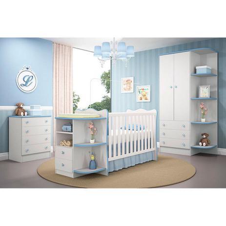 7e92c78ea24714 Berço Com Prateleiras Com Cômoda e Roupeiro Prateleiras Quarto Infantil  Branco Azul - Qmovi