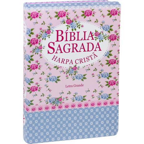 Imagem de Bíblia Sagrada com Harpa Cristã - Letra Grande - Florida Azul