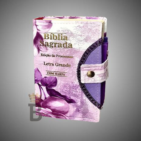 Imagem de Bíblia Sagrada Letra Grande Botão Flor Lilas C/ Harpa