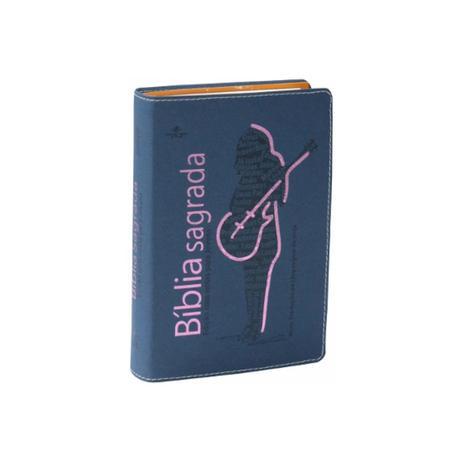 Imagem de Biblia sagrada ntlh para jovens - capa azul com rosa - sbb
