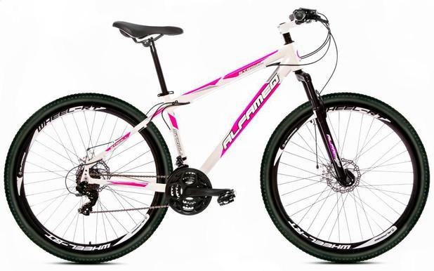 Imagem de Bicicleta Alfameq Stroll Aro 29 Freio À Disco 27 Marchas Branca Com Rosa