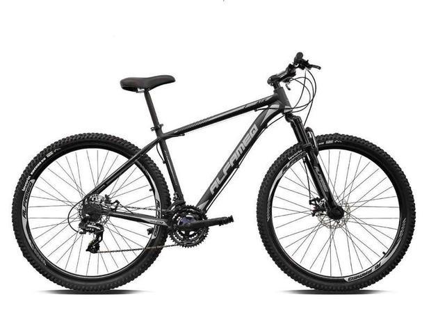 Imagem de Bicicleta aro 29 Alfameq Atx Alumínio 21 Marchas Câmbios Shimano Freio a Disco Preto/Cinza Tam.21