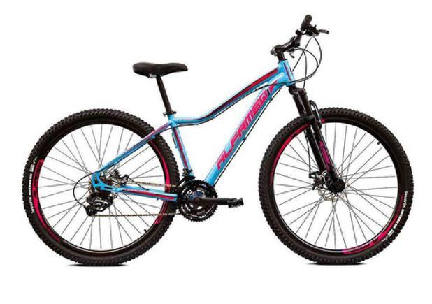 Imagem de Bicicleta Aro 29 Alfameq Pandora Feminina Alumínio 21v Freio A Disco Azul com Rosa Tamanho 17