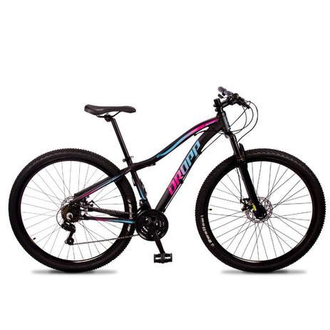 Imagem de Bicicleta Aro 29 Dropp Flower Alumínio 21v Freio a Disco Preto Rosa e Azul Feminina